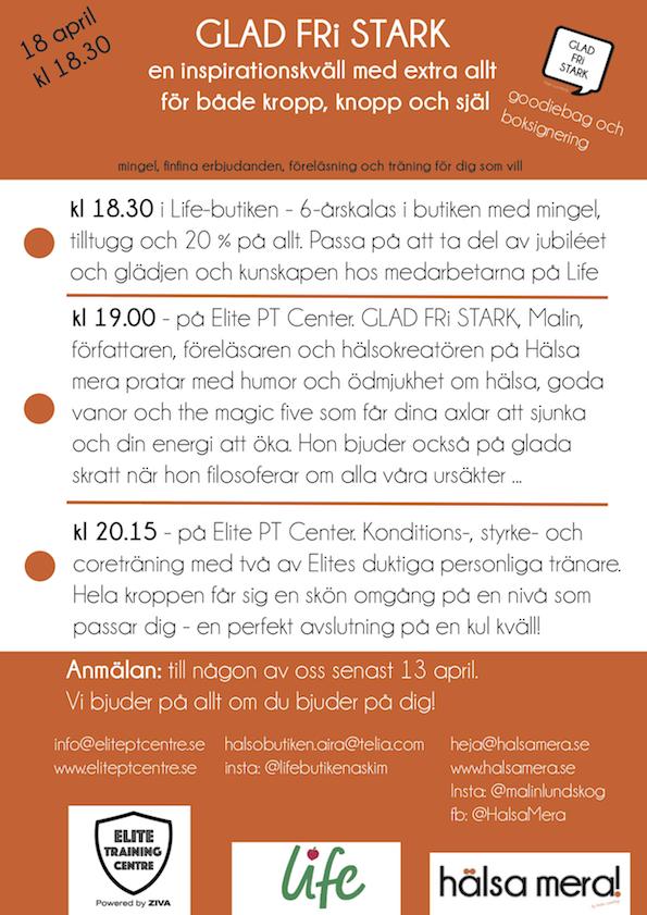 glad fri stark - föreläsning, Malin Lundskog, Hälsa mera