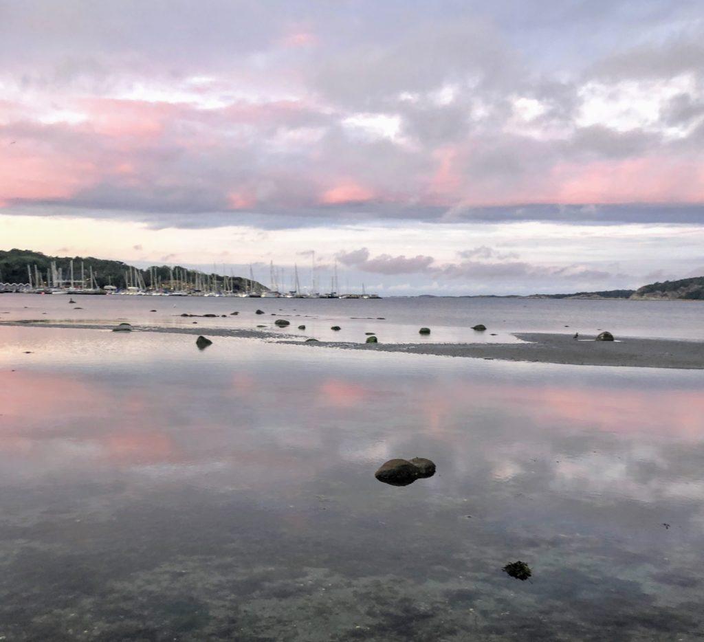 stiltje, morgon, havet, september