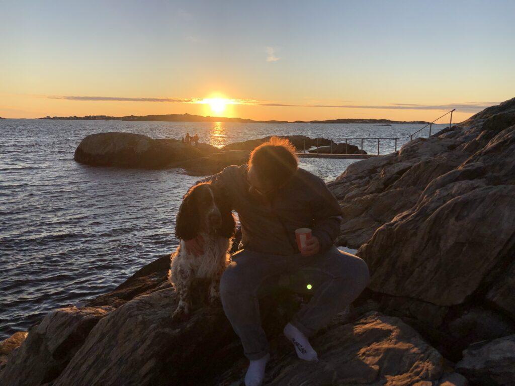solnedgång på Knippla