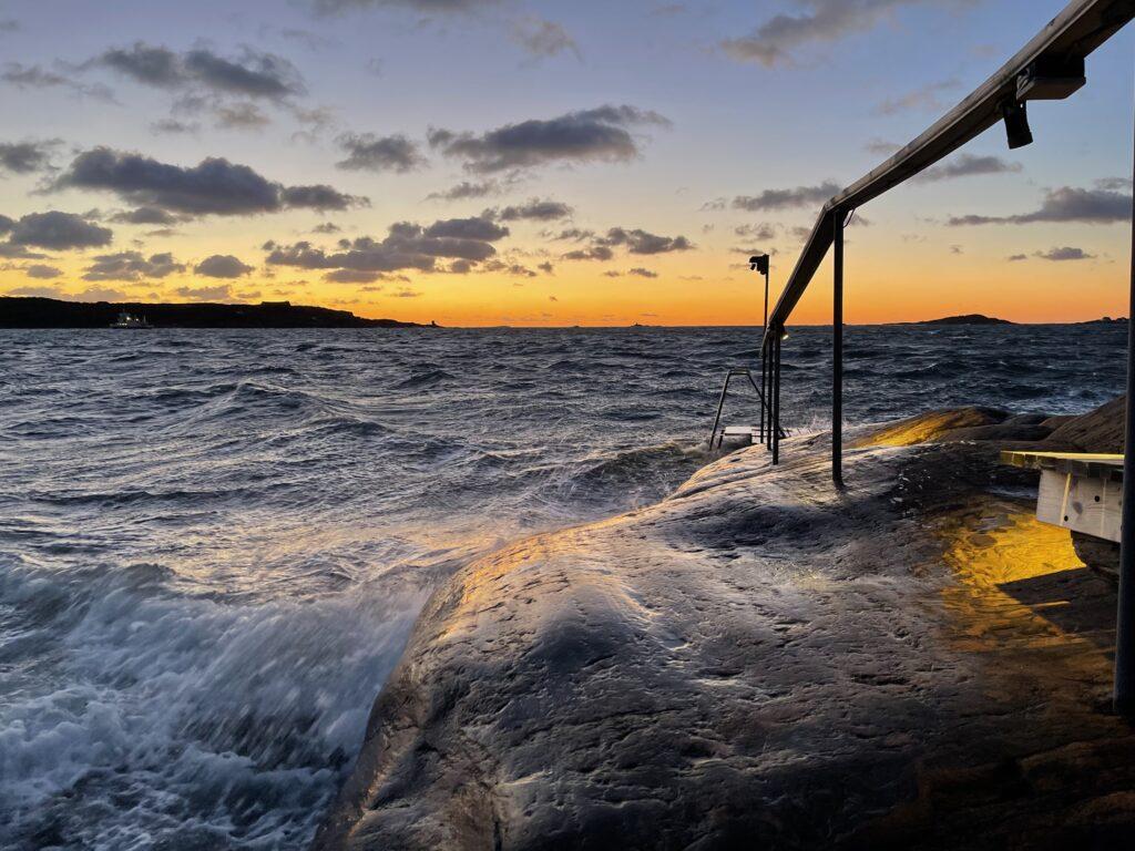 solnedgång, Knippla, havet, västkusten