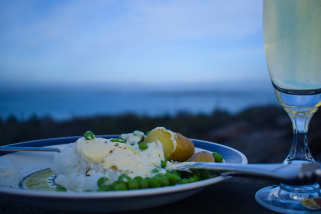 Vänner, lutfisk och ledig lördag, utsikt, champagne