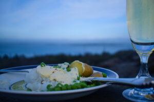 vänner, lutfisk och ledig lördag, champagne, utsikt