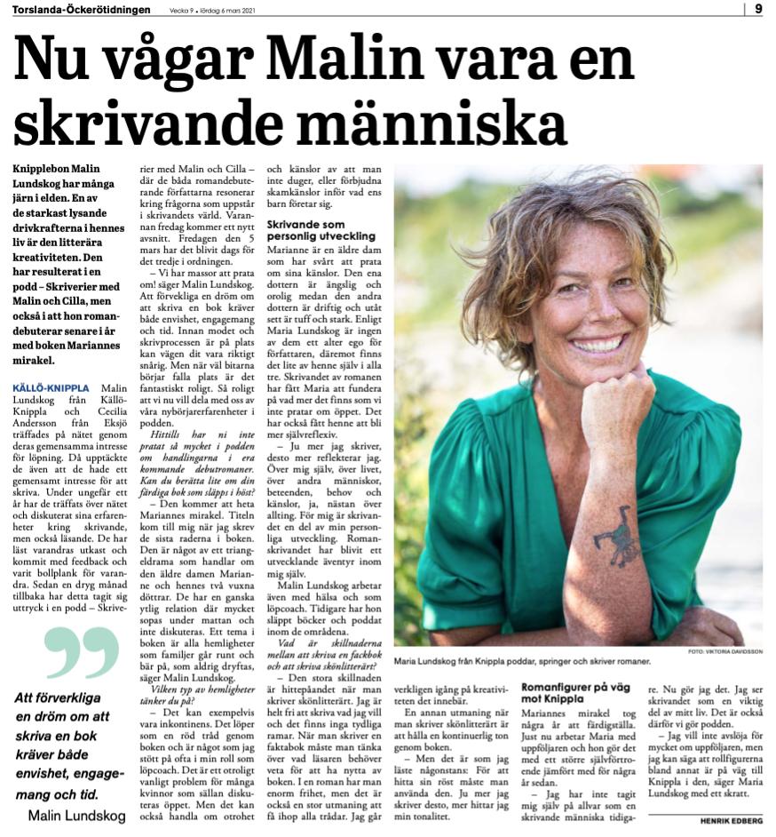 Intervju om mig och mitt författarskap, Malin Lundskog, Knippla